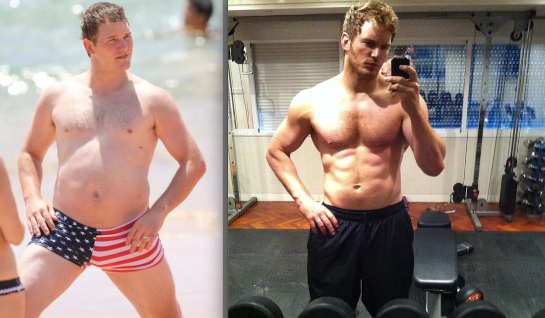 Actor Chris Pratt physical transformation